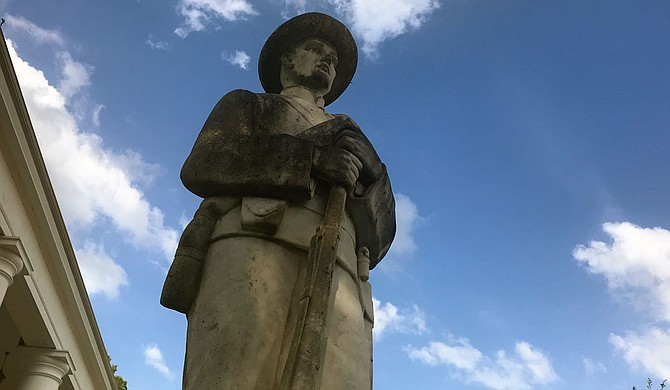 Confederate memorabilia dots northeast Louisiana around where Donna Ladd's Adkins ancestors owned slaves. This Confederate statue is in nearby Homer, La. Photo by Donna Ladd