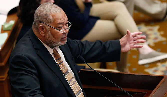 Rep. Willie Bailey, D-Greenville, speaks to the Mississippi House of Representatives to call for an end to the state's electoral college system, which has racist roots. Photo by Rogelio V. Solis via AP