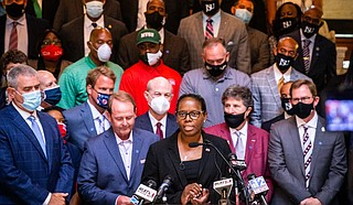 University coaches and Christian ministers filled the Mississippi Capitol on Thursday, urging legislators to seize the moment and remove the Confederate battle emblem from the state flag while Americans are reckoning with difficult discussions about race and history. Photo courtesy Mississippi State Women's Basketball