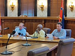 Democratic state Sen. Hillman Frazier of Jackson served on a commission in 2000 that held public hearings about whether to change the flag. Here he sits (center) on the Senate rules committee in 2020. Photo by Nick Judin.