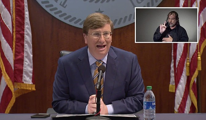 Mississippi Gov. Tate Reeves said Wednesday the state is pausing its efforts to reopen the economy after a recent surge in new reported coronavirus cases. Photo courtesy State of Mississippi