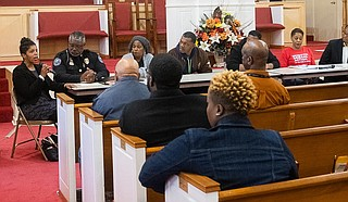 Attorney and activist Rukia Lumumba (left) addresses attendees of a public forum on gun violence in Jackson at the Mt. Helm Baptist Church in downtown Jackson on Jan. 20, 2020. Photo by Seyma Bayram