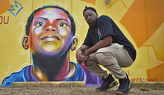 "In July, Jackson native and artist Christopher Windfield finished his Ellis Avenue mural, ""Young King,"" which faces New Horizon Church. Photo by Delreco Harris"