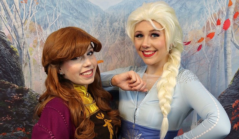 """Taylor Bridges and Christy Holt cosplay as """"Frozen""""'s Anna and Elsa. Photo courtesy Taylor Bridges"""