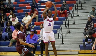 One Tougaloo player that was enjoying a great campaign was senior forward Ledarius Woods. He was named First-Team All-GCAC to end the regular season and named to the conference's All-Tournament team. Photo courtesy Tougaloo Athletics
