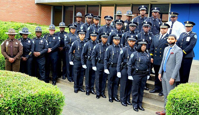 Mayor Chokwe A. Lumumba (right) joins the celebration for the 58th Police Recruit Class for the Jackson Police Department in 2019. Photo courtesy Jackson Police Department