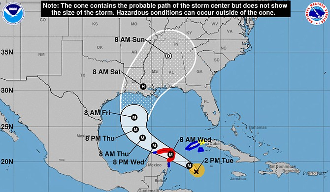 Current weather forecast models predict that the City of Jackson will be impacted by Hurricane Delta. Courtesy NOAA Weather Radio.