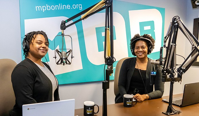 "Co-hosts Germaine Flood (left) and Tara Wren (right) lead Mississippi Public Broadcasting's latest podcast, ""Chalkboard Ch@t."" Photo courtesy Antonio Mack"