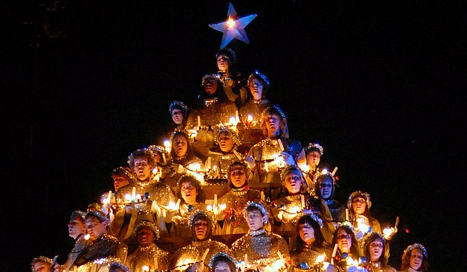 Belhaven University has selected and compiled video performances of its Singing Christmas Tree event going back a decade and photographs from as far back as the 1940s to honor its annual tradition in lieu of a live performance for 2020. Photo courtesy Belhaven University