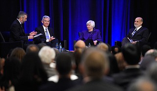 Yellen with a few of the boys. Photo courtesy AP Photo/Annie Rice