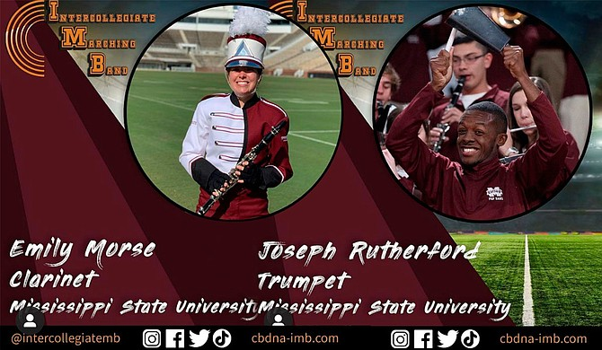 Four members of the Mississippi State University Famous Maroon Band will take part in a virtual intercollegiate marching band event for the College Football Playoff National Championship game on Monday, Jan. 11. Photo courtesy MSU