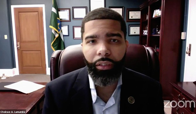 Mayor Chokwe A. Lumumba explained the rationale for imposing a five-day 10 p.m. to 5 p.m. youth curfew to those under 18 to the media via Zoom on Feb 4. Photo courtesy City of Jackson