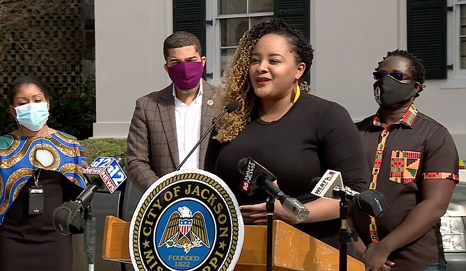 Maranda Joiner (pictured) is partnering with the City of Jackson to implement the 2021 Live. Impact. Create. Program art fellowships with $1.2 million from Surdna Foundation. Screenshot courtesy WAPT