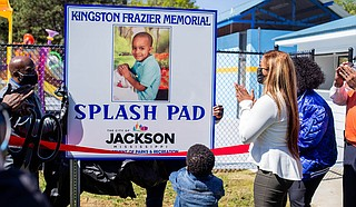The City of Jackson Department of Parks and Recreation hosted a ribbon cutting and dedication ceremony for the Kingston Frazier Memorial Splash Pad, a miniature water park for children in Jackson, on Friday, April 2. Photo by Imani Khayyam