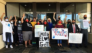Advocates gathered at the International Museum of Muslim Cultures office on Capitol Street on April 8 to demand better treatment of immigrant workers. Photo by Kayode Crown