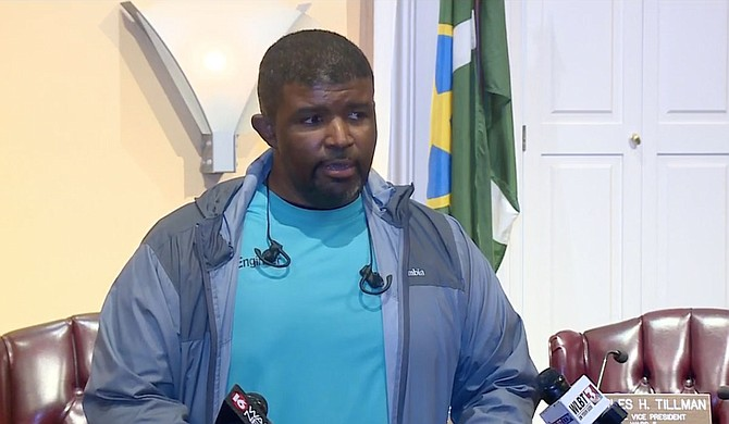 Jackson Public Works Director Charles Williams addressed the public Friday afternoon, explaining that an electrical fire prompted a plant shutdown, leading to unsafe water pressure across the city. Photo courtesy WAPT.