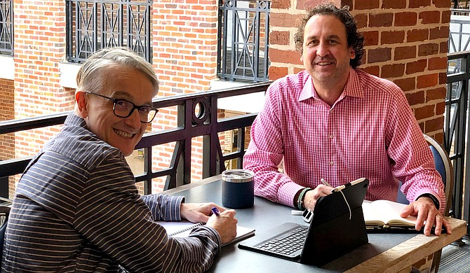 Heralding from the same department at Mississippi College, Dr. Steve Price (right) has been able to learn the ropes of his new position as National Chief Reader from Dr. David Miller (left), who previously fulfilled the role, in person. Photo courtesy David Miller