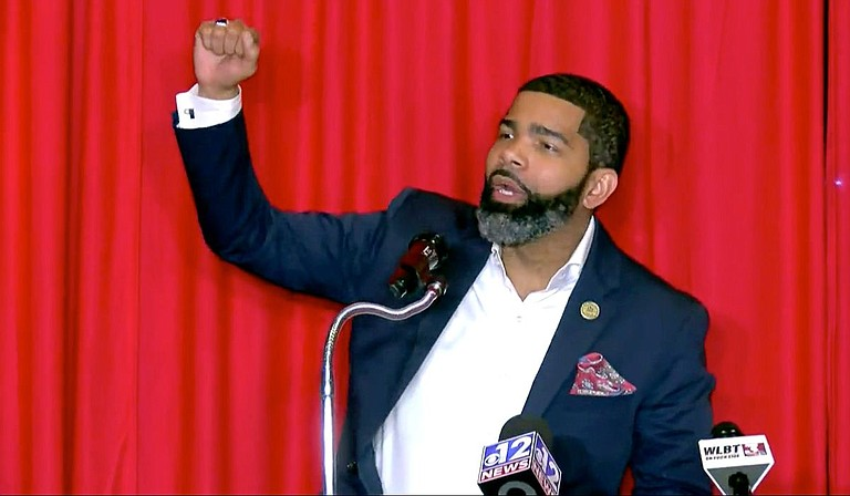 Mayor Chokwe A. Lumumba wins re-election for a second term. He addressed supporters after results came in Tuesday, June 8, 2021. Photo courtesy WLBT