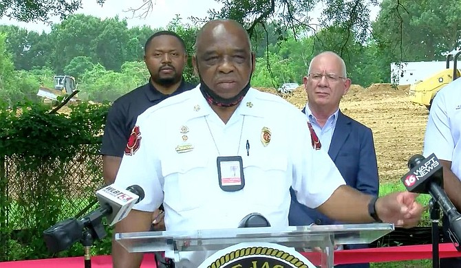 Jackson Fire Department Chief Willie Owens, on Monday, June 14, giving a speech at the construction site for the new Fire Station 20 along Medgar Ever Boulevard, Jackson. Photo courtesy WLBT