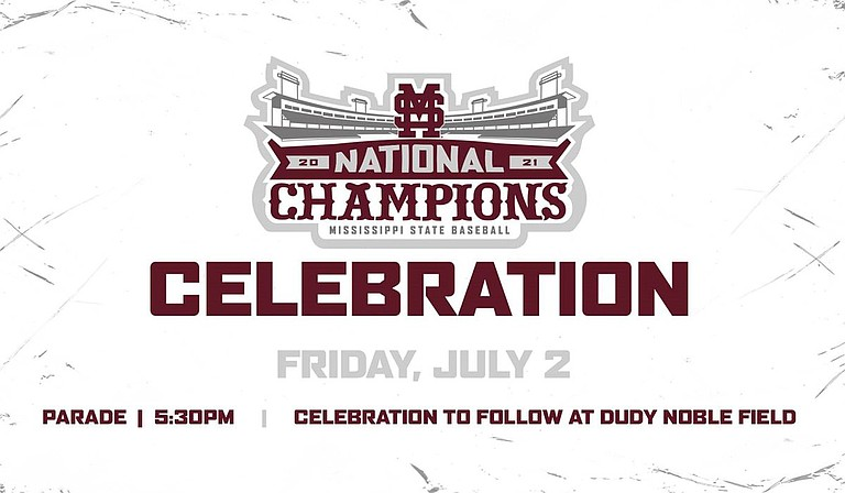 Mississippi State University will host a parade through downtown Starkville on Friday, July 2, at 5:30 p.m. to celebrate its 2021 Baseball National Championship, culminating with an event inside Dudy Noble Field at Polk-Dement Stadium. Photo courtesy MSU