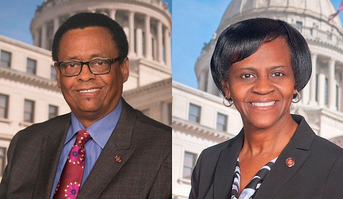 Democratic Sens. Sampson Jackson of Preston (left) and Tammy Witherspoon (right) of Magnolia stepped down June 30, the last day of the state budget year. Witherspoon was inaugurated the next day as mayor of her hometown. Photo courtesy State of Mississippi