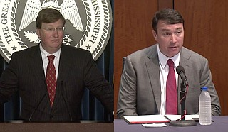 Mississippi Gov. Tate Reeves (left) and Department of Public Safety Commissioner Sean Tindell announced an initiative on July 14 to increase State of Mississippi law enforcement presence in select parts of the capital city, following the passage of two bills that expand the jurisdiction of state law enforcement entities here. Photos Courtesy State of Mississippi