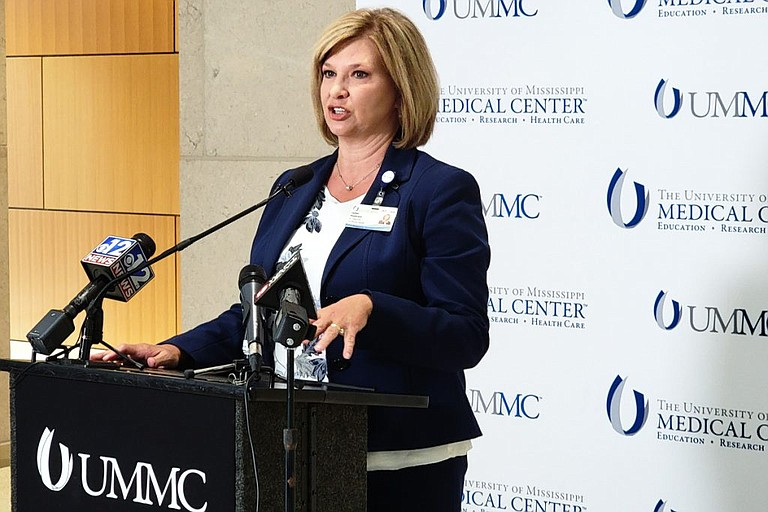LouAnn Woodward, vice chancellor for health affairs and dean of the School of Medicine at the University of Mississippi Medical Center, announced that, by November, all employees and students on the UMMC campus must be vaccinated or wearing an N95 mask at all times. When the vaccine receives full FDA approval, it will become mandatory. Photo by Nick Judin
