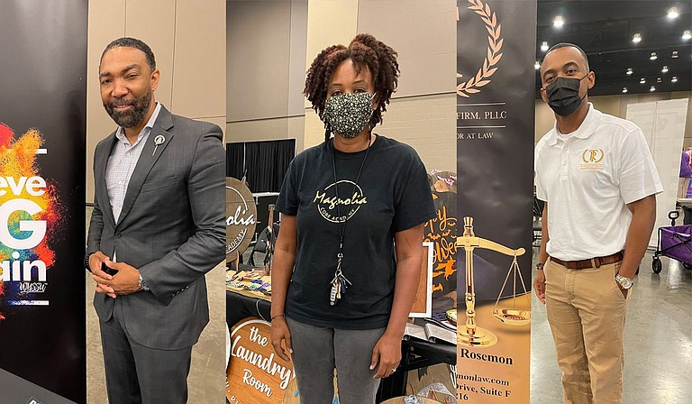 (L-R) Felix Anderson, Kawana Brookins and Marcus Roseman showcased their businesses at the 2021 Mississippi Black Business Expo on Aug. 21. Photo by Kayode Crown