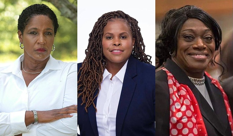 Beverly Harris-Williams, Colendula Green and Cheryl Matory are among the 13 candidates running for Hinds County sheriff on Nov. 2. Photos courtes Beverly Harris-Williams, Colendula Green and Cheryl Matory