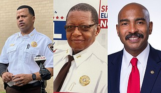 (From left) Interim Hinds County Sheriff Marshand Crisler, former Hinds County Sheriff Chief Deputy of Operations Eric Wall, and Investigation Division Captain Tyree Jones are contesting for Hinds County Sheriff position in the Nov. 2 special election. Photo courtesy Kayode Crown