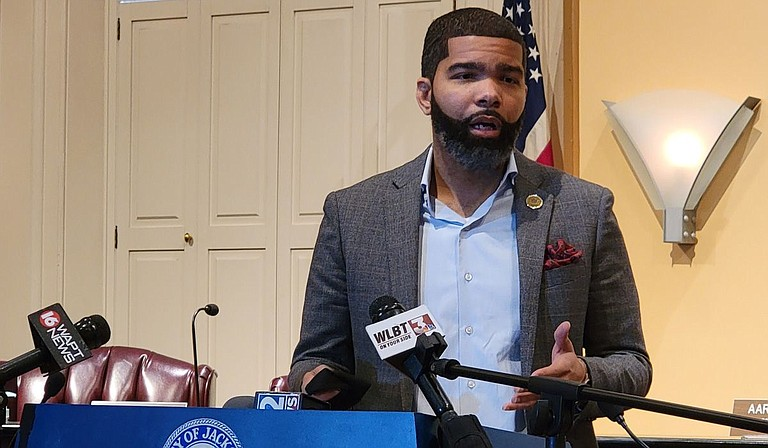 Mayor Chokwe A. Lumumba, at a press briefing on Monday, Oct. 11, praised his late mother, Nubia, for having the courage to leave an abusive relationship. Photo by Nick Judin
