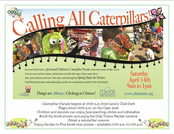 This Saturday, the 5th Annual Children's Caterpillar Parade begins at Lion's Club Park in Clinton (400 East St., Clinton) at 10 a.m.