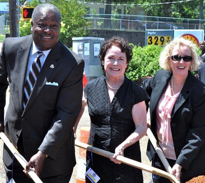 The city broke ground yesterday on improvements to Fortification Street. Pictured, left to right, are Mayor Harvey Johnson Jr., Ward 7 Councilwoman Margaret Barrett-Simon and Greater Belhaven Neighborhood Foundation Executive Director Virgi Lindsay.