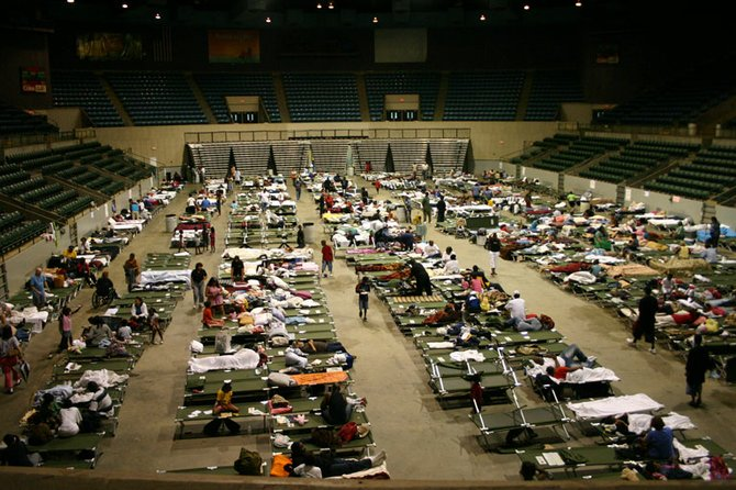 Evacuees still filled the Mississippi Coliseum last Tuesday following Hurricane Gustav.