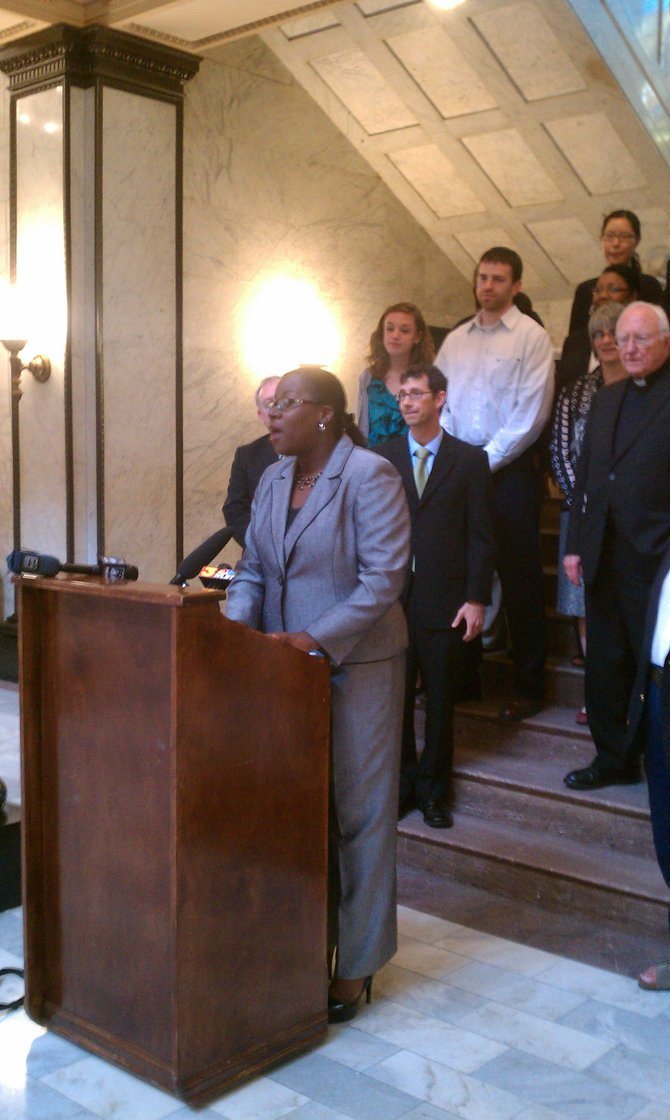 Pahaedra Robinson of the Mississippi Center for Justice spoke against House Bill 1396 at a press conference this morning.