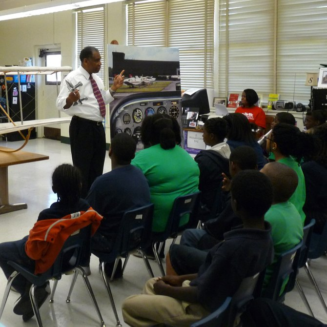 Students at Walton Elementary School learned about aviation during Space Day last Friday.