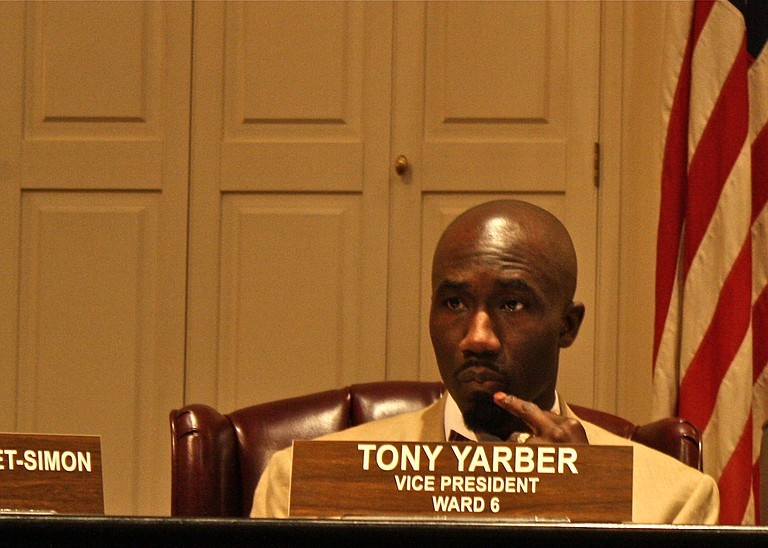 Ward 6 City Councilman Tony Yarber listens as council members speak during a meeting in City Hall.