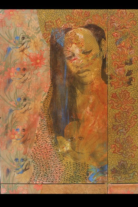 "Lea Barton's ""I Am Not Afraid,"" 2005, mixed media on 36-inch-by-48-inch canvas."