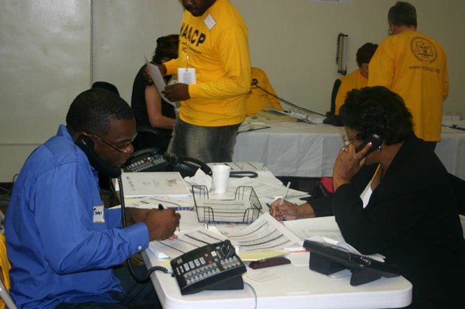 Volunteers at a Protect the Vote 2008 call center fielded complaints about voter problems during the Nov. 4 general election.