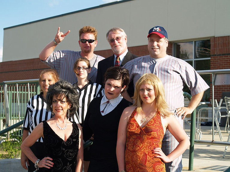 """The cast of """"It Ain't Over 'Til It's Over"""" includes (bottom row, l to r) Alahna Stewart, Stephanie Gault, Kenni Bounds, (second row, l to r) Lauri Trott, Samantha Gregory, (top row, l to r) Eric Riggs, Tommy Kobeck and Tom Lestrade."""