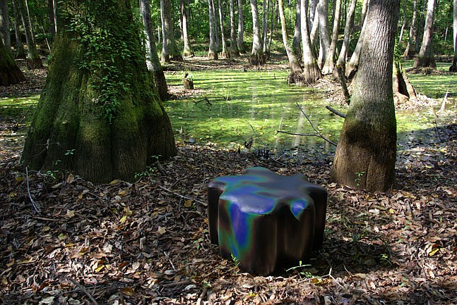Designers Nuno Gonçalves Ferreira and Erin Hayne of Visual Reference Studio found inspiration for its Cypress Stool in the Cypress Swamp.